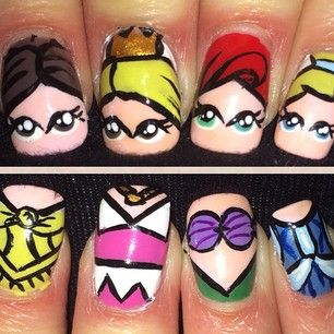 Belle, Sleeping Beauty, Ariel, and Cinderella all on one hand? I'm impressed. | 16 Examples Of Disney Nail Art That Will Render You Speechless