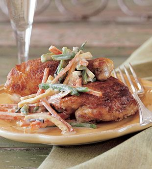 Chicken with Truffles and Champagne Sauce (serves 8)    http://www.bonappetit.com/recipes/2003/10/chicken_with_truffles_and_champagne_sauce