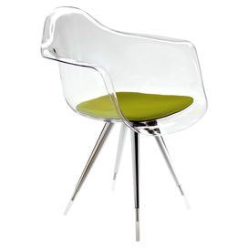 Bring a modern feel to your kitchen or study with this understated chair. Featuring an olive green seat pad, it adds a splash of colour to neutral decor or complements a vibrant palette.  Product: ChairConstruction Material: Chrome, acrylic, polycarbonate, wool felt and siliconeColour: Olive greenFeatures:  Designed by Ruud BoxMade in ItalyAnti-slipDimensions: 81 cm H x 59 cm W x 63 cm D