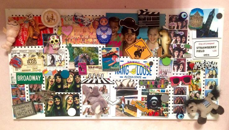 This magnet board in my room shows memories from my childhood, my friends and my trips. In conclusion, it tells my story.