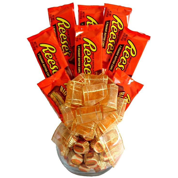 Delight a chocolate lover with this vase filled with Reese's peanut butter cups. The attractive translucent vase sports an orange ribbon and is ready for immediate giving. Features: Food Type: Candy C