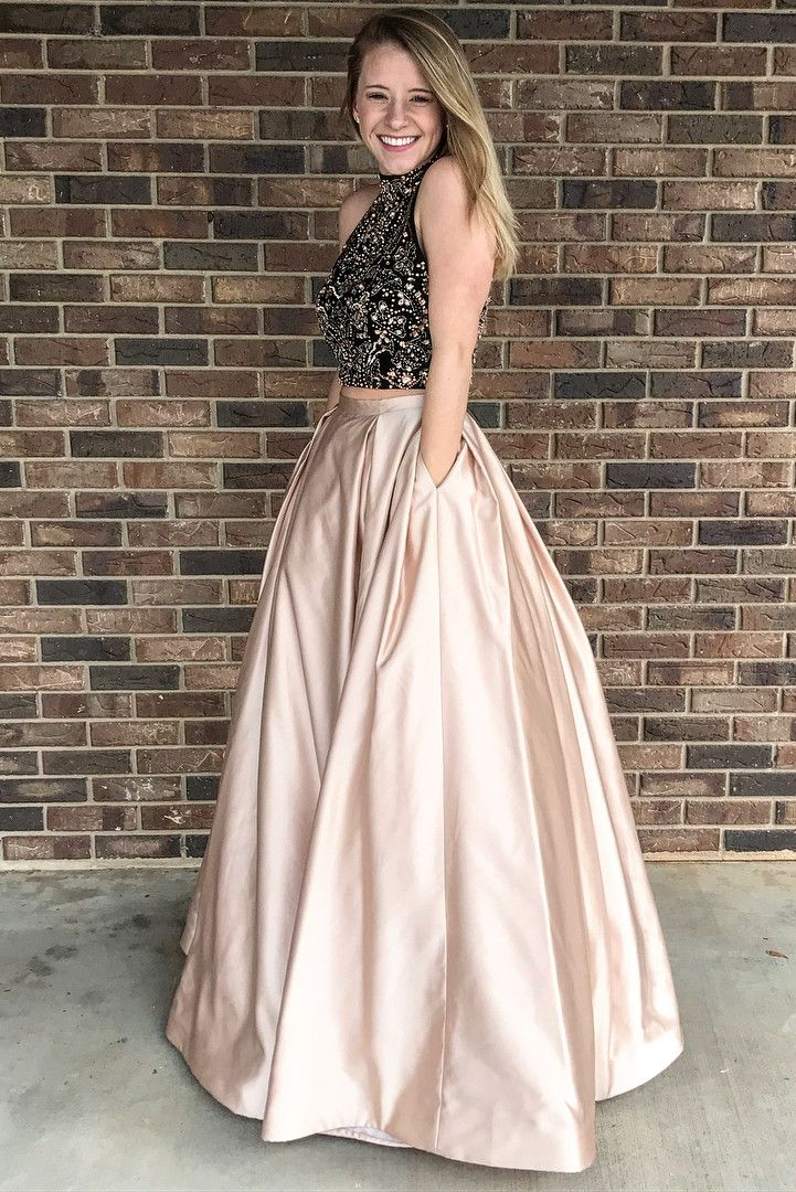 48eb293110c5 Two Piece Prom Dress with High Neck, Champagne Long Prom Dress with Pockets.  Satin