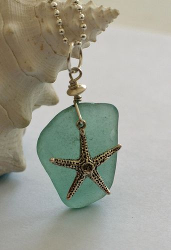 Light Turquoise Sea Glass and Starfish Pendant, $66.00