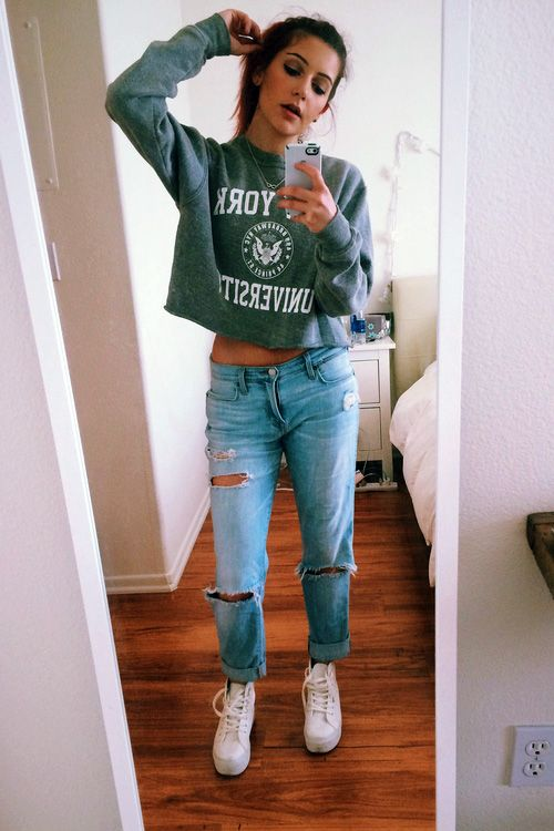 Best 25  Ripped Boyfriend Jeans ideas on Pinterest | Boyfriend ...