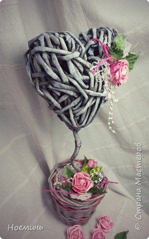 Бонсай топиарий ёлка Плетение Сердечное дерево Трубочки бумажные фото 1