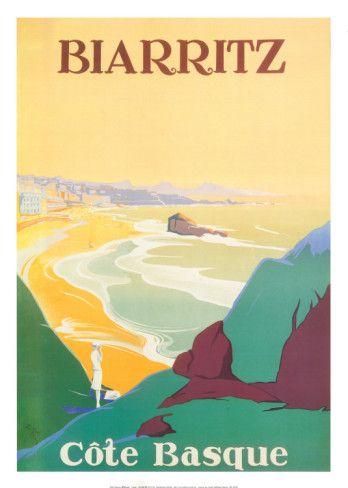 Vintage travel poster - France - Biarritz