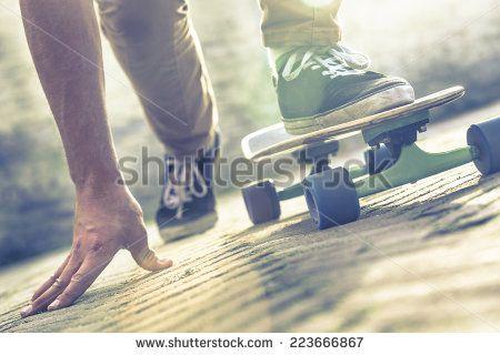Skateboarder riding skateboard through the streets