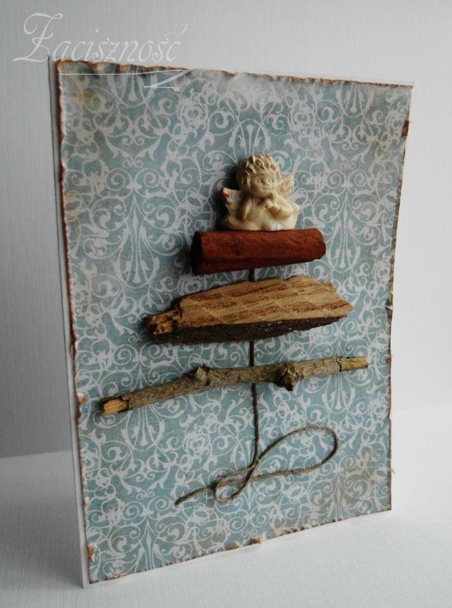 Ręcznie robiona kartka świąteczna z choinką / Handmade Christmas card with Christmas tree