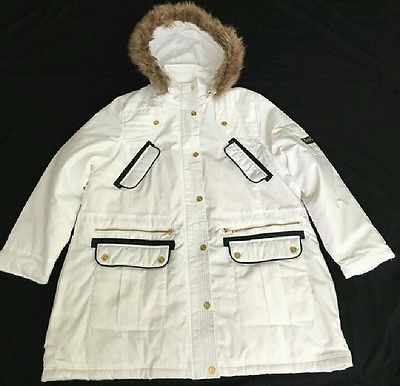 SALE! Under $30! Warm Winter Coat Parka Anorak Style White Fur Trim Hood Worn once