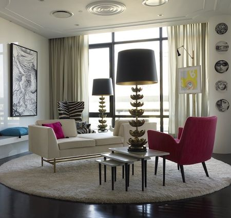 Jonathan Adler Living Room  Non Traditional Layout, Fornasetti, Tete A Tete  Bench, Brass Lotus Lamps, White Walls