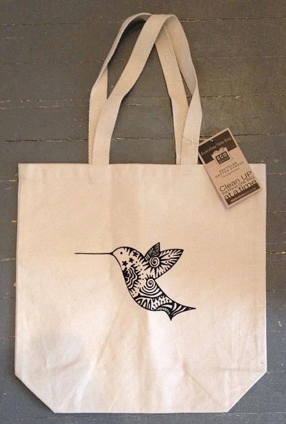 Recycled Cotton Canvas Hummingbird Tote Bag by karmabee on Etsy, $15.00