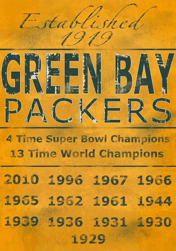 Green Bay Packers Vintage Art Print on Wood 14x20 by Studiojones1, $60.00