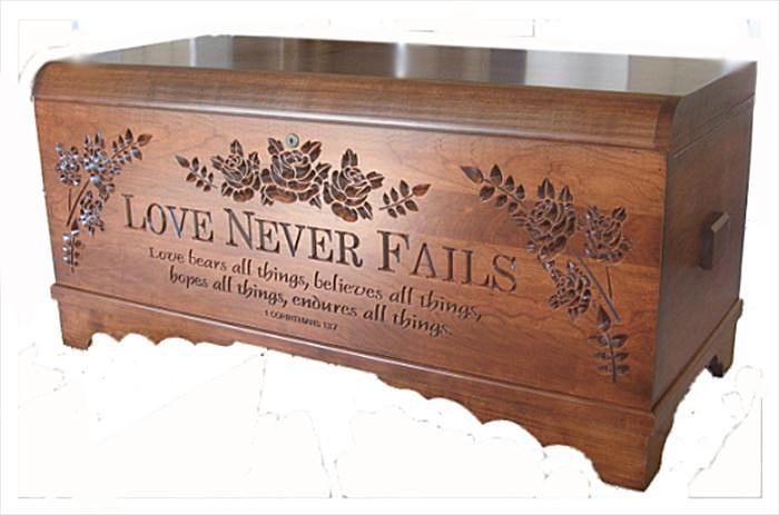 Solid wood, cedar lined, amish crafted Hope Cherry Chest Love Never Fails 1 Corinthians