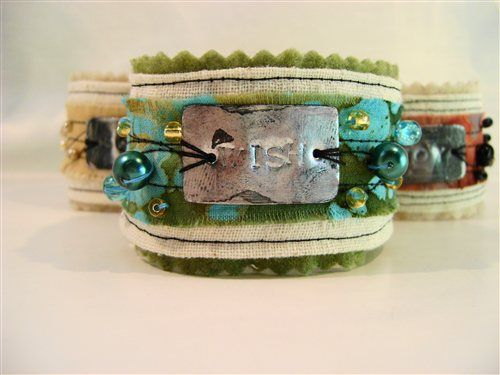 """Wish"" A felt and fabric cuff that measures 9"" long…"
