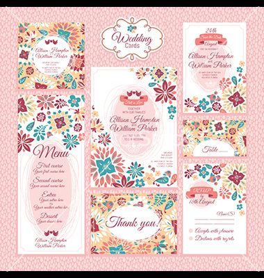 Set of floral wedding cards vector 1476344 - by SelenaMay on VectorStock®