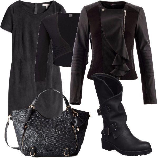 Vestito a manica corta con cerniera e scollo tondo, coprispalle, giacca nera molto bella con rouches e cerniera, stivali alti con fibbie e punta tonda e borsa molto capiente nera.