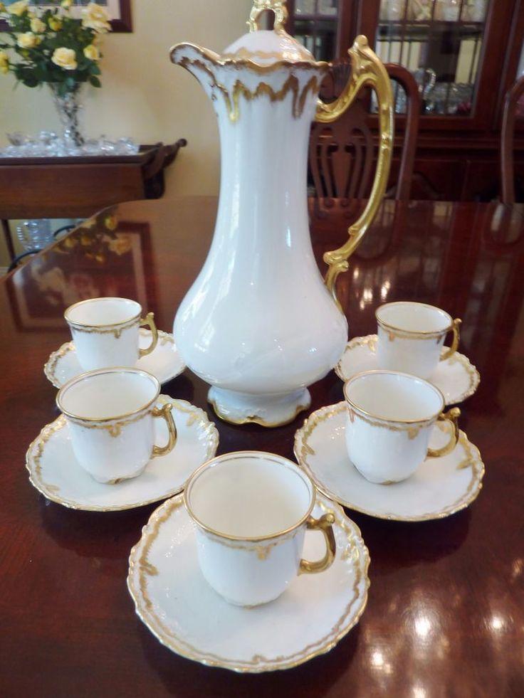 Elite Limoges Chocolate Set Handpainted Gold 11 Pieces Pot Cups Saucers  Antique