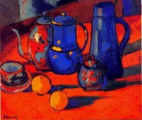 """Maurice de Vlaminck (1876)  """"Nature morte"""". Maurice de Vlaminck (París, 4 de abril de 1876 - Eure-et-Loir, 11 de octubre de 1958) fue un pintor fauvista francés. Vlaminck fue uno de los pintores que causaron escándalo en el Salón de otoño de 1905, que recibió el apelativo de """"jaula de fieras"""", dando nombre al movimiento del que formaba parte junto a Henri Matisse, André Derain, Raoul Dufy y otros."""