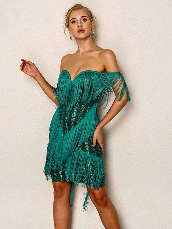 626df2c7d39d SheIn Joyfunear Layered Fringe Embellished Off Shoulder Dress ...
