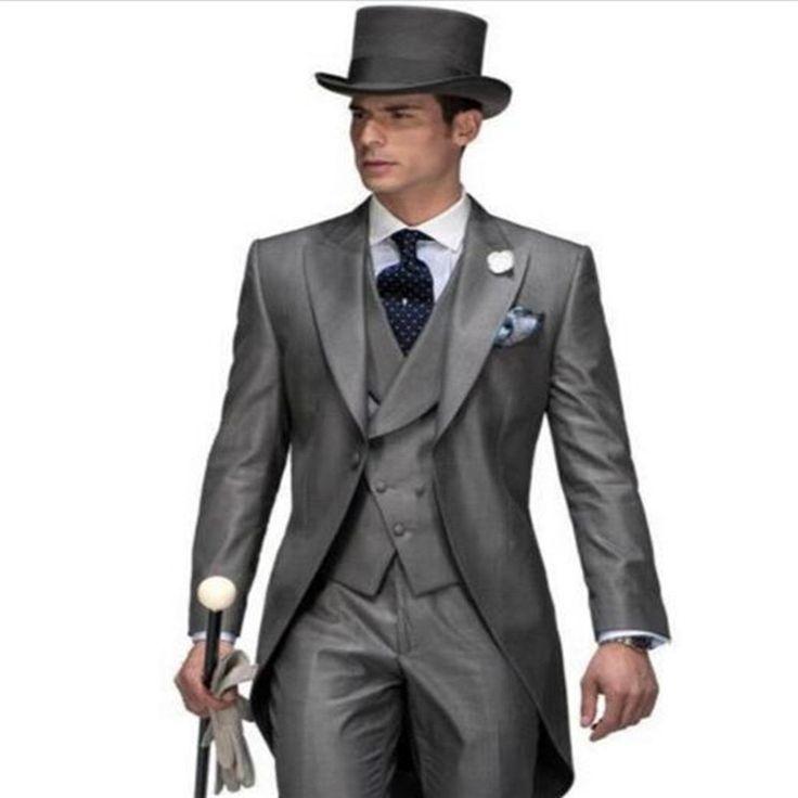 Hot sell grey groom dress, wedding dress, bride groom, best man suit, men's suit, tail coat (coat + trousers + Vest + tie)