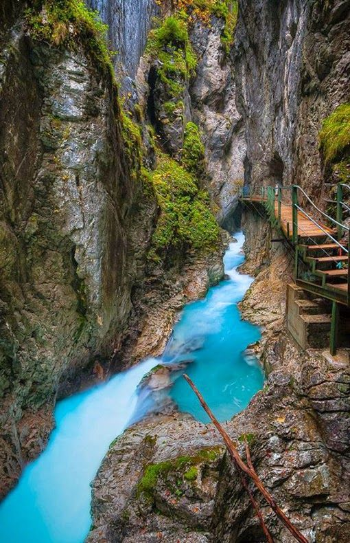 hiking at Leutasch Gorge, Bavaria, Germany