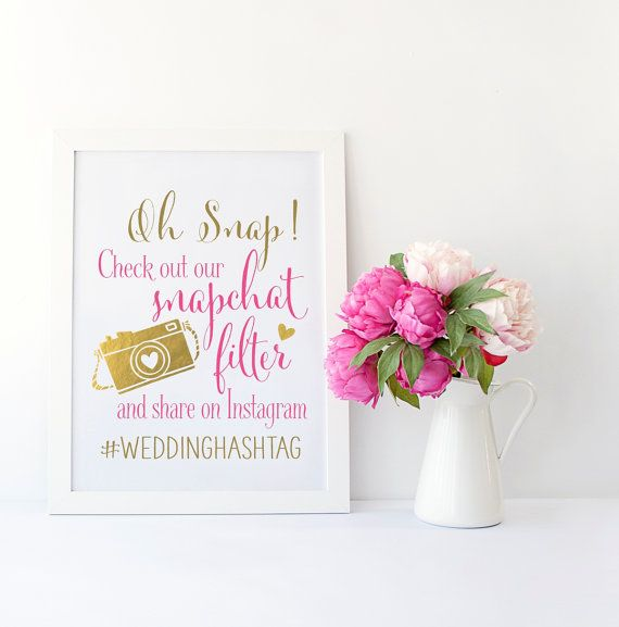 A combined Snapchat Instagram sign is the perfect printable wedding sign to display. For those who snapchat, let them know you have a filter. For those who dont, announce your Instagram hashtag. Make it easy for guests to capture and share the moments of your special day instantly. These signs are multi-functional. Upload to your wedding website. Include them as a flyer or postcard in wedding gift bags. Place them in small frames on each reception guest table. Print on foam core or poster…