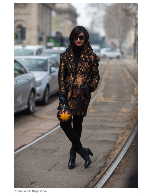 DUANG POSHYANONDA, EDITOR IN CHIEF OF HARPER'S BAZAAR THAILAND,   WEARING HER KUBORAUM BERLIN MASK U5 DURING MILAN FASHION WEEK F/W 2013/2014