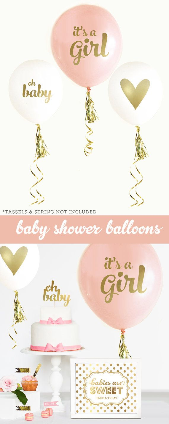 Girl Baby Shower Centerpiece Balloons are a great idea for a pink and gold baby shower theme! Say Its a Girl in style with with this set of 3 baby