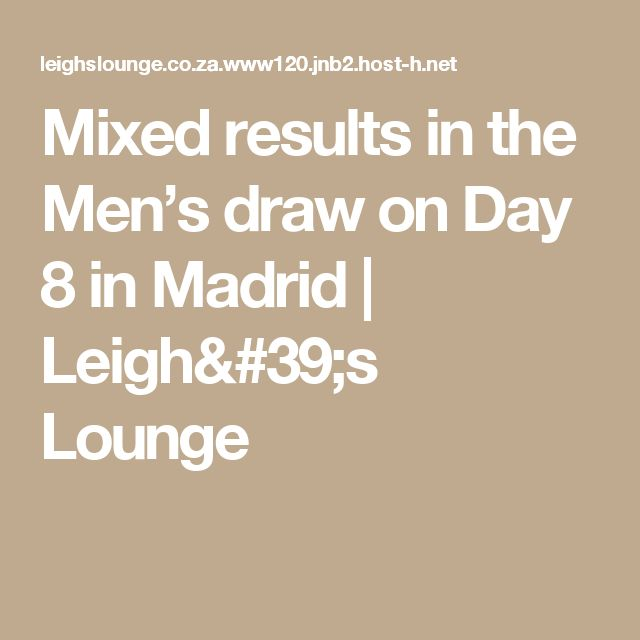 Mixed results in the Men's draw on Day 8 in Madrid | Leigh's Lounge