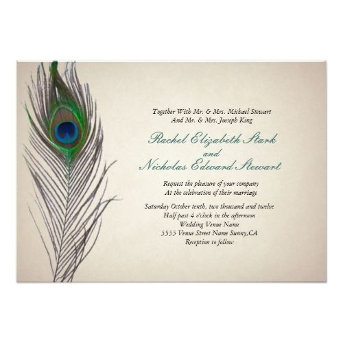 Peacock Wedding Invitations Vintage Invitation