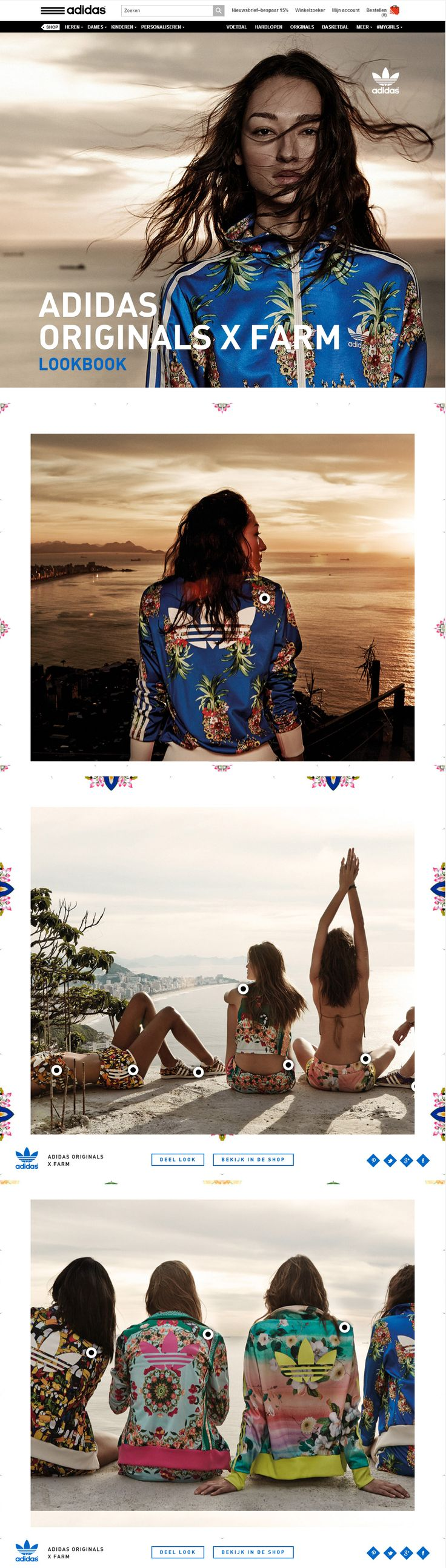adidas Originals X Farm Lookbook, May 25, 2014.  http://www.awwwards.com/web-design-awards/adidas-originals-x-farm-lookbook #UI #Inspiration #Scroll #OnePage #Colorful #WebDesign #SOTD #Awwwards