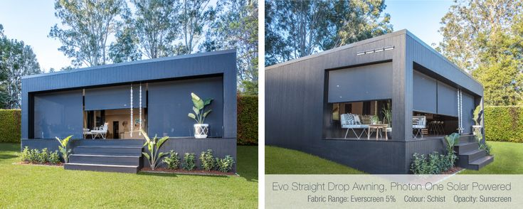 Deck: Luxaflex Evo Drop Awnings - Three Birds Renovations House 7, River Shack