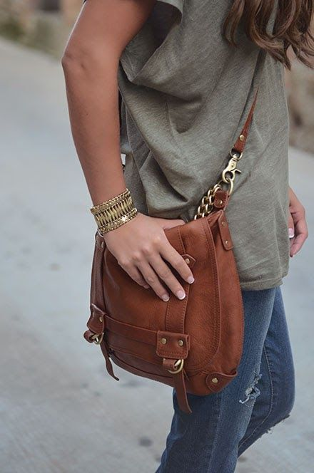 loose t, denim, camel cross-body bag, accessories, jewelry, bangles, bracelets