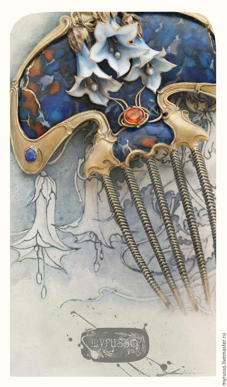 Купить Celticae Datura - темно-синий, синий, оранжевый, модерн, Ар Нуво, югендстиль, Дурман