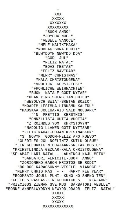 Ascii art christmas tree drawn with typed characters for Ascii decoration