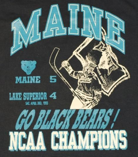 Vintage 1993 University of Maine Black Bears Hockey Champions T-Shirt. Shirt is in excellent pre-owned condition.