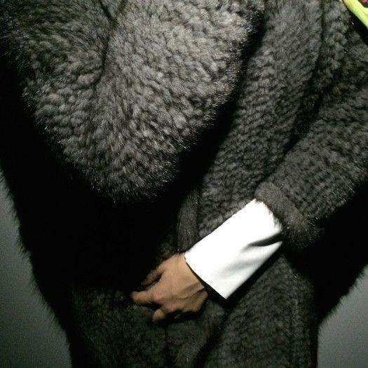 |KNITTED GRAPHITE MINK| Knitted graphite grey mink.