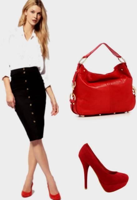 blusa blanca, falda tubo negra y zapatos rojos de gamuza