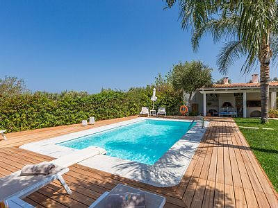 Rethymno villa rental - Relax by the pool all day long, under the shade of the trees!