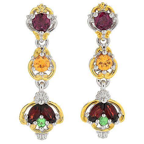 """158-887 - Gems en Vogue 1"""" 1.96ctw Multi Color Garnet Linear Drop Earrings"""
