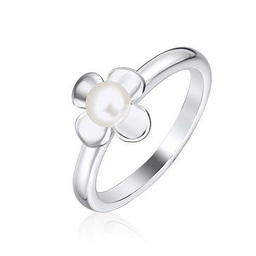 RING KAGI PEARL DAHLIA SURGICAL STAINLESS STEEL WITH 4MM CREAM CULTURED FRESHWATER BUTTON PEARL 10MM FLOWER MEDIUM SIZE 6 L1/2 - Jons Family Jewellers