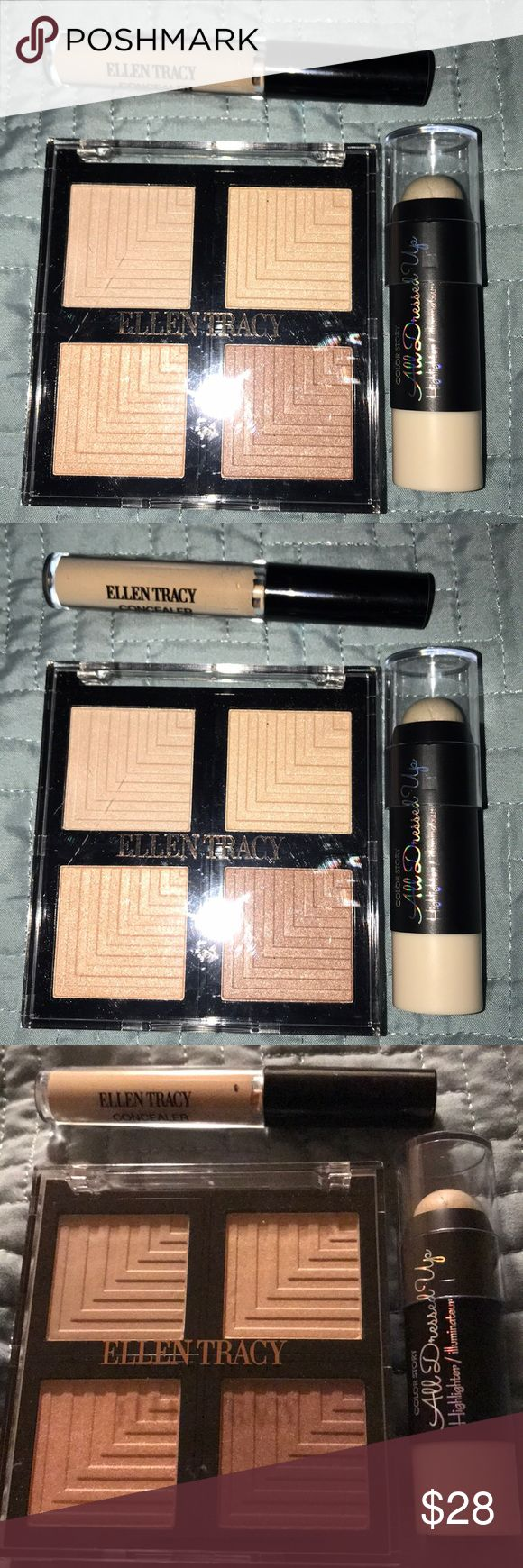Make-Up Bundle of Three •Make-Up Bundle of Three   For color see pictures please •Ellen Tracy— Eye And Face Illuminator  •Ellen Tracy— Concealer  •Color Story — Highlighter Color Story / Ellen Tracy Makeup