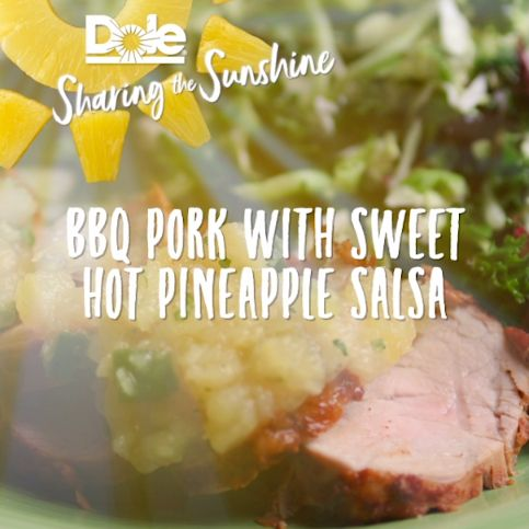 BBQ Pork with Dole Sweet Hot Pineapple Salsa recipe is a hearty favorite with the perfect mix of exotic flavors! Warm up a cold night with the full easy to make tropical recipe listed below.