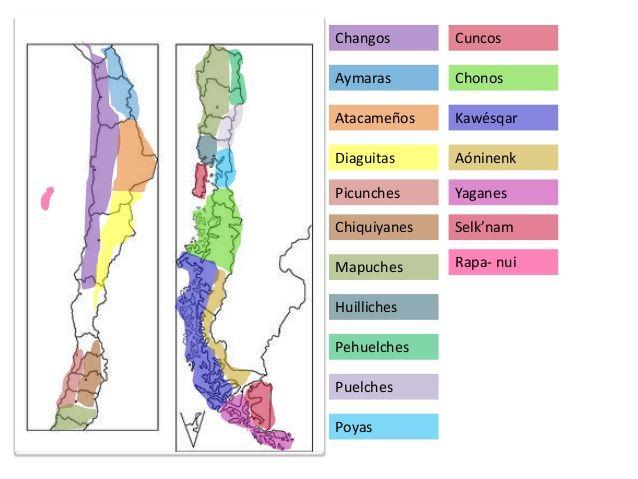 Mapa de los pueblos precolombinos Chile -