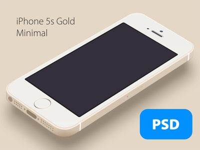 iPhone 5s Minimal Gold - Free PSD
