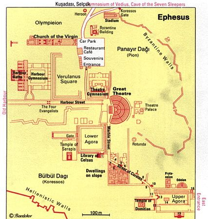 Map of Ephesus Attractions....I was at that theater....you know, the one where Paul spoke to the Ephesians....in the Bible!!