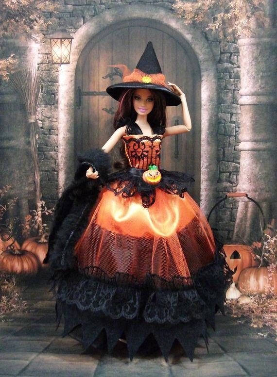 "Robe "" Halloween N°4 "" tenue pour poupée Barbie f3788"
