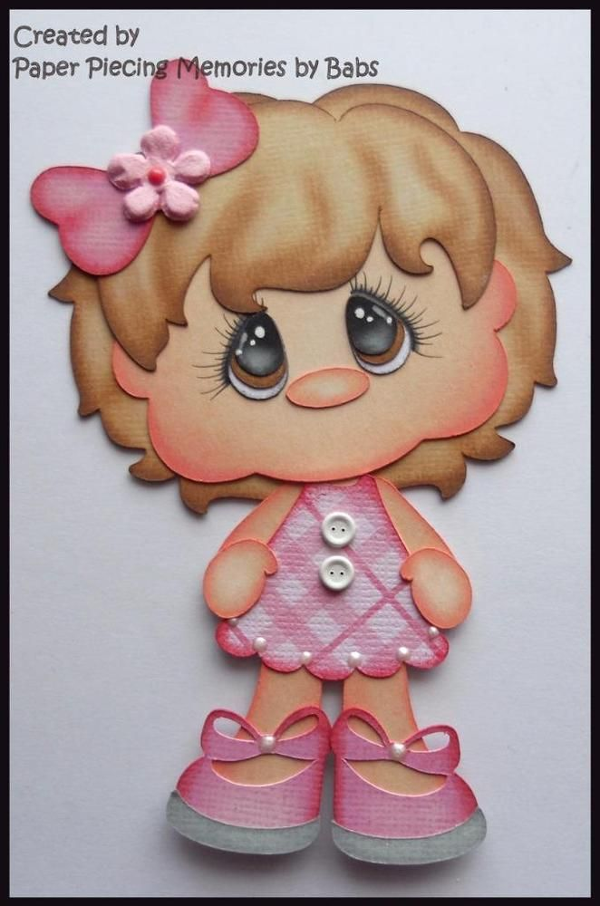 Girl Brown Hair Premade Paper Piecing Die Cut for Scrapbook Page byBabs
