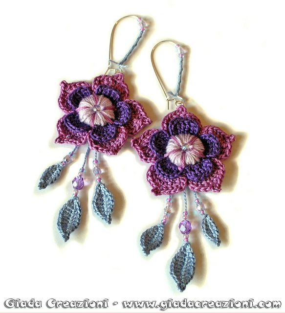 **Inspiration:  star shaped flowers with dangling beads and leaves.  Orecchini Soft - Earrings by Kaos Inside, via Flickr