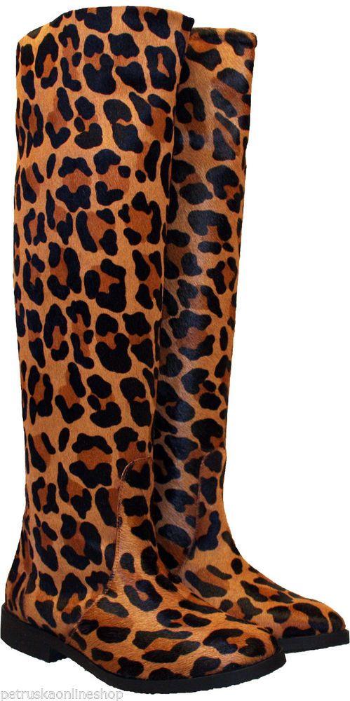 Fell-Stiefel Animalprint Leopard - Schaftstiefel Boots Patagonia im Leo-Look